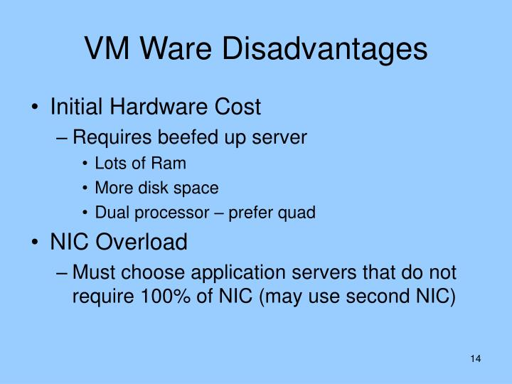 VM Ware Disadvantages