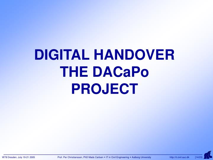 DIGITAL HANDOVER