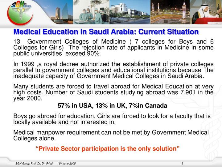 Medical Education in Saudi Arabia: Current Situation