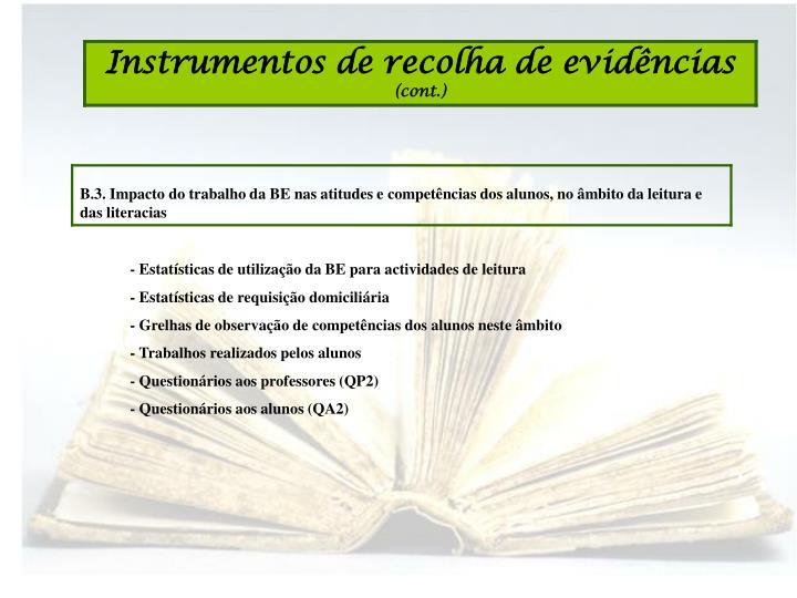- Estatísticas de utilização da BE para actividades de leitura