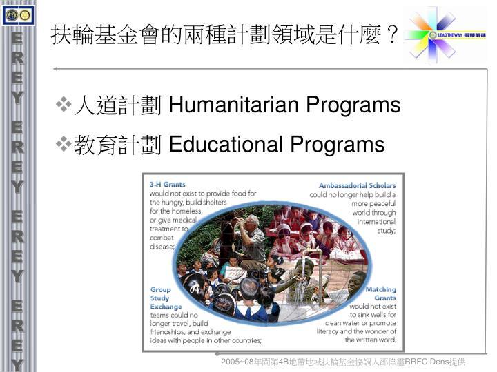 扶輪基金會的兩種計劃領域是什麼?