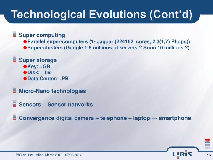 Technological Evolutions (Cont'd)