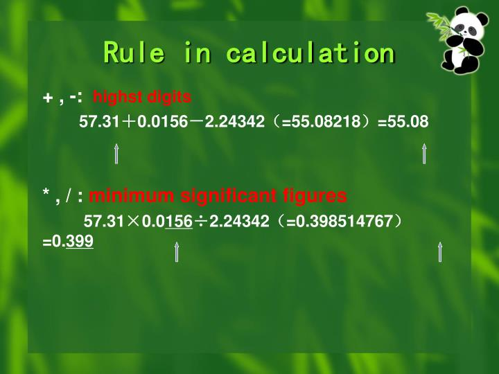 Rule in calculation