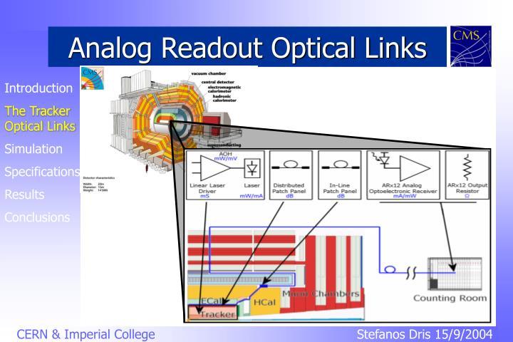 Analog readout optical links