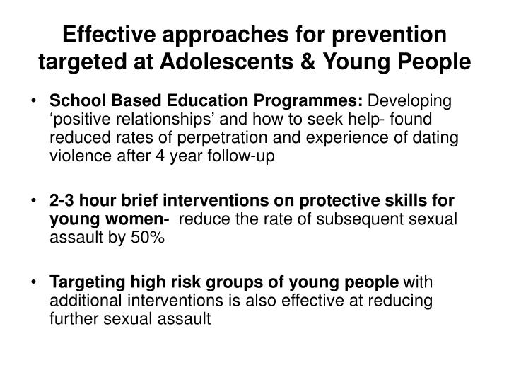 Effective approaches for prevention targeted at Adolescents & Young People