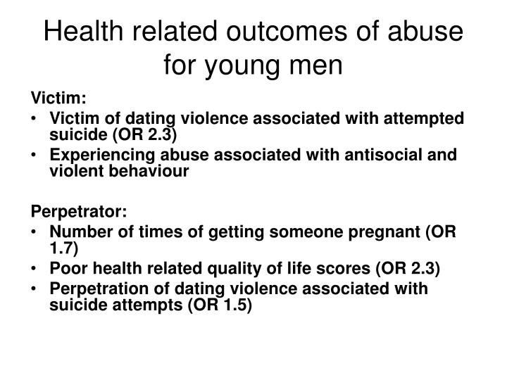 Health related outcomes of abuse for young men