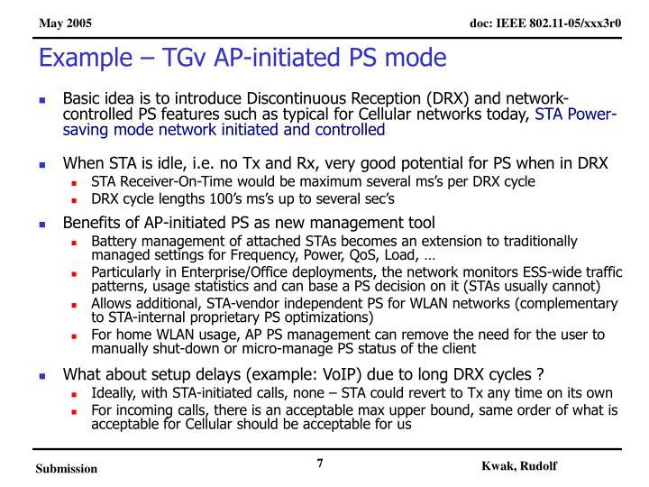 Example – TGv AP-initiated PS mode