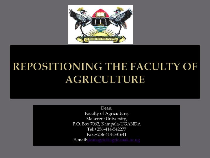 repositioning the faculty of agriculture n.