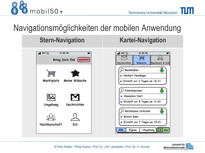 Navigationsm glichkeiten der mobilen anwendung