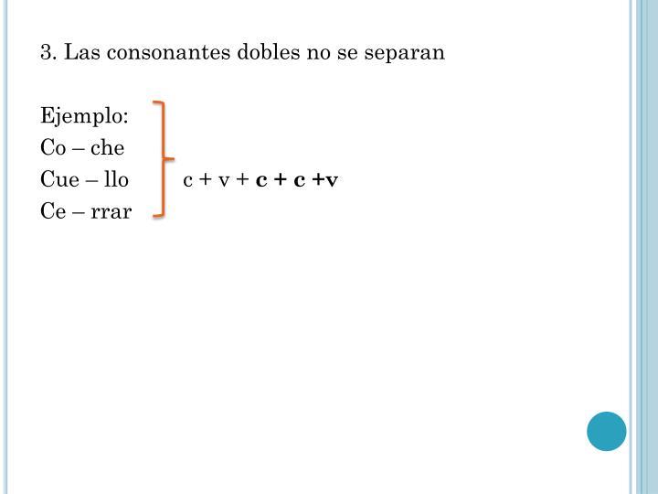 3. Las consonantes dobles no se separan