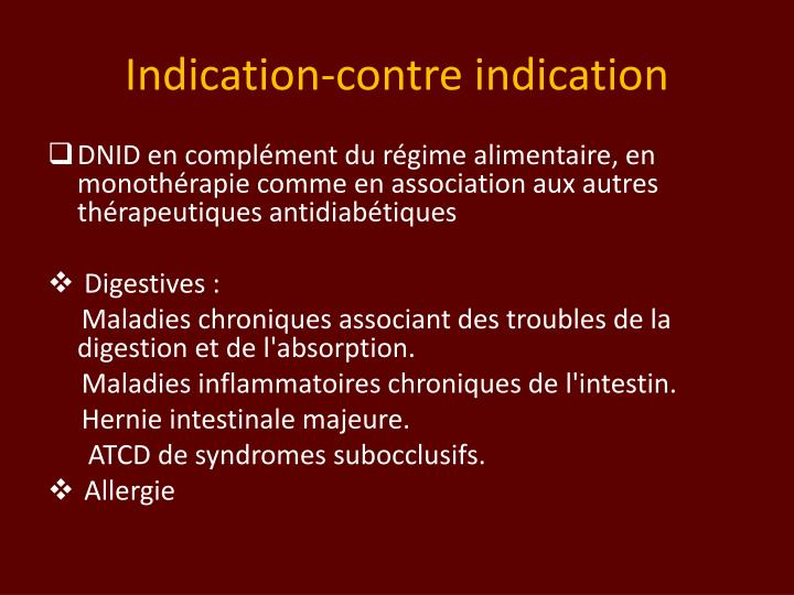 Indication-contre indication