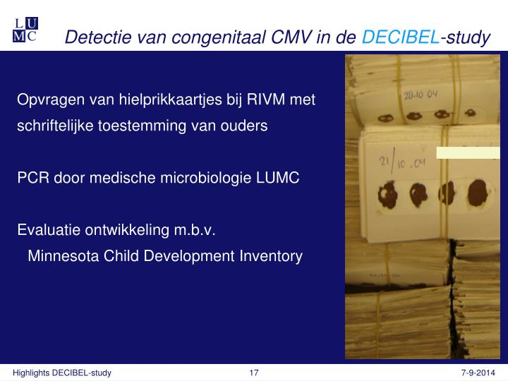 Detectie van congenitaal CMV in de