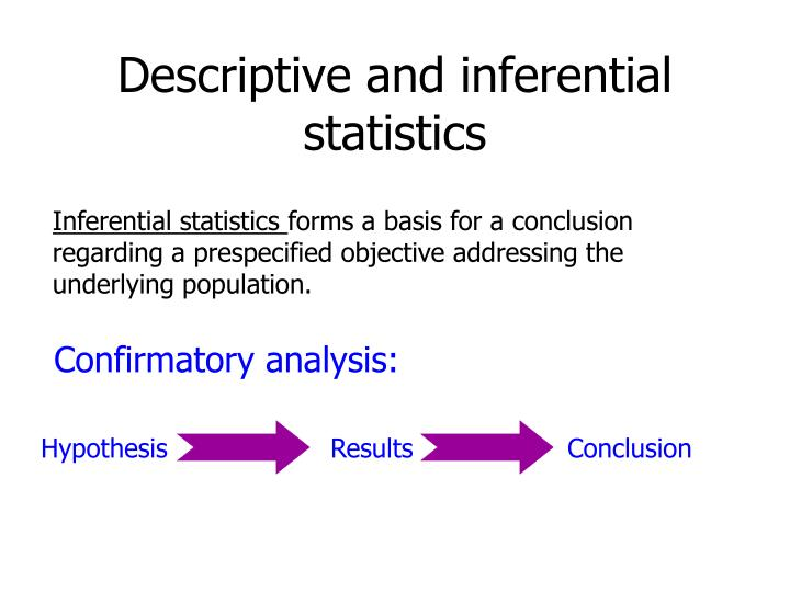 descriptive and inferential statistics2 Descriptive statistics are statistics that describe the central tendency of the data, such as mean, median and mode averages variance in data, also known as a dispersion of the set of values, is another example of a descriptive statistics greater variance occurs when scores are more spread out.