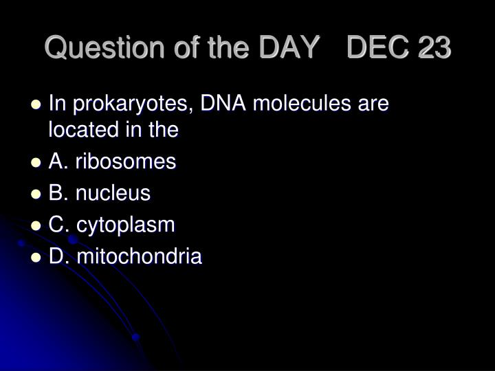 Question of the DAY   DEC 23