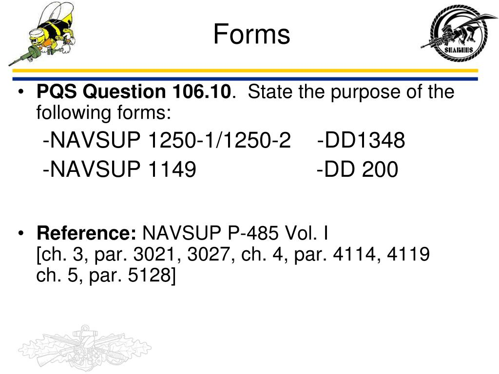 Navsup Form 1250-1 Download