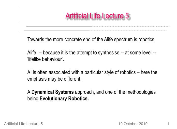 Artificial life lecture 5
