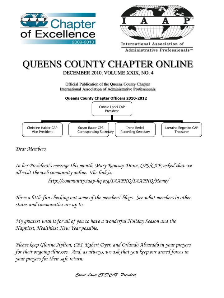QUEENS COUNTY CHAPTER ONLINE
