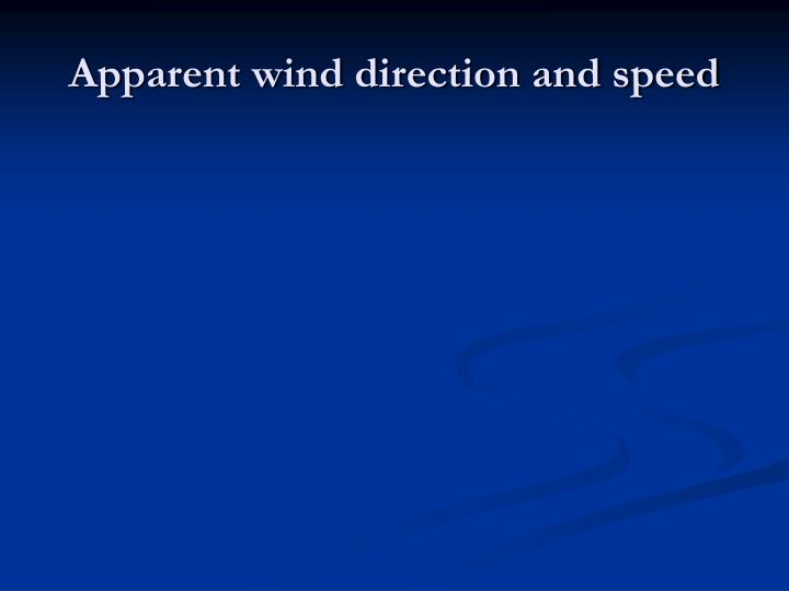 Apparent wind direction and speed