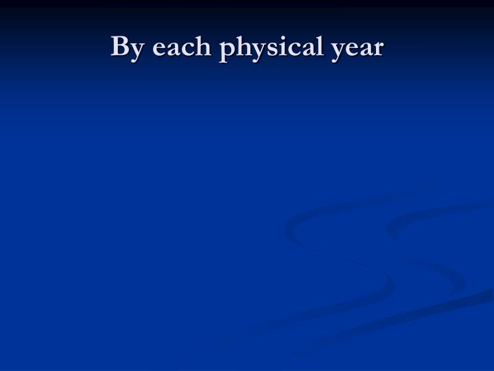 By each physical year