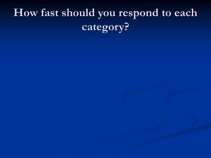 How fast should you respond to each category?