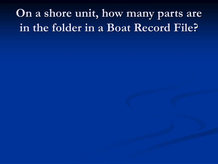 On a shore unit, how many parts are in the folder in a Boat Record File?
