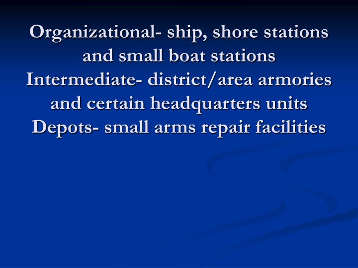 Organizational- ship, shore stations and small boat stations