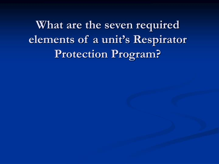 What are the seven required elements of a unit's Respirator Protection Program?