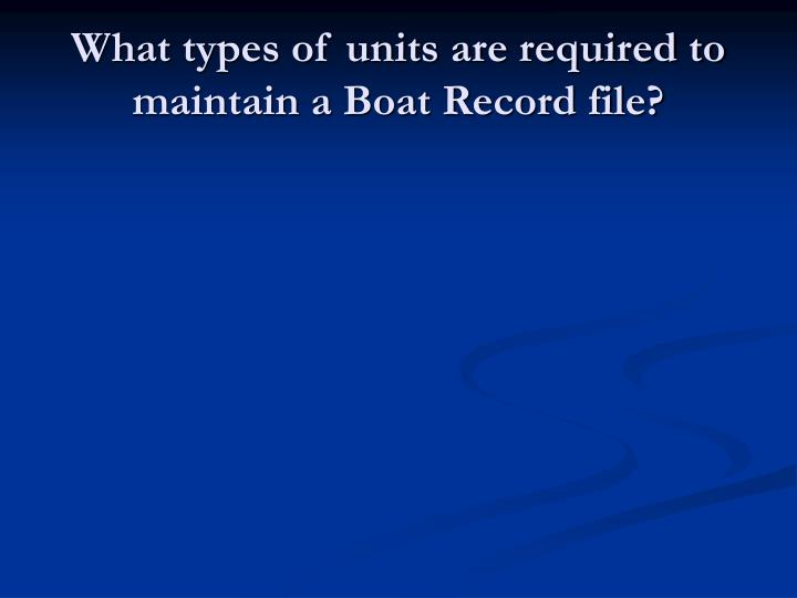 What types of units are required to maintain a Boat Record file?