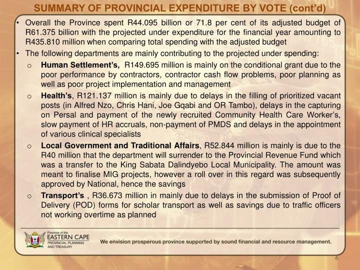 SUMMARY OF PROVINCIAL EXPENDITURE BY VOTE (cont'd)