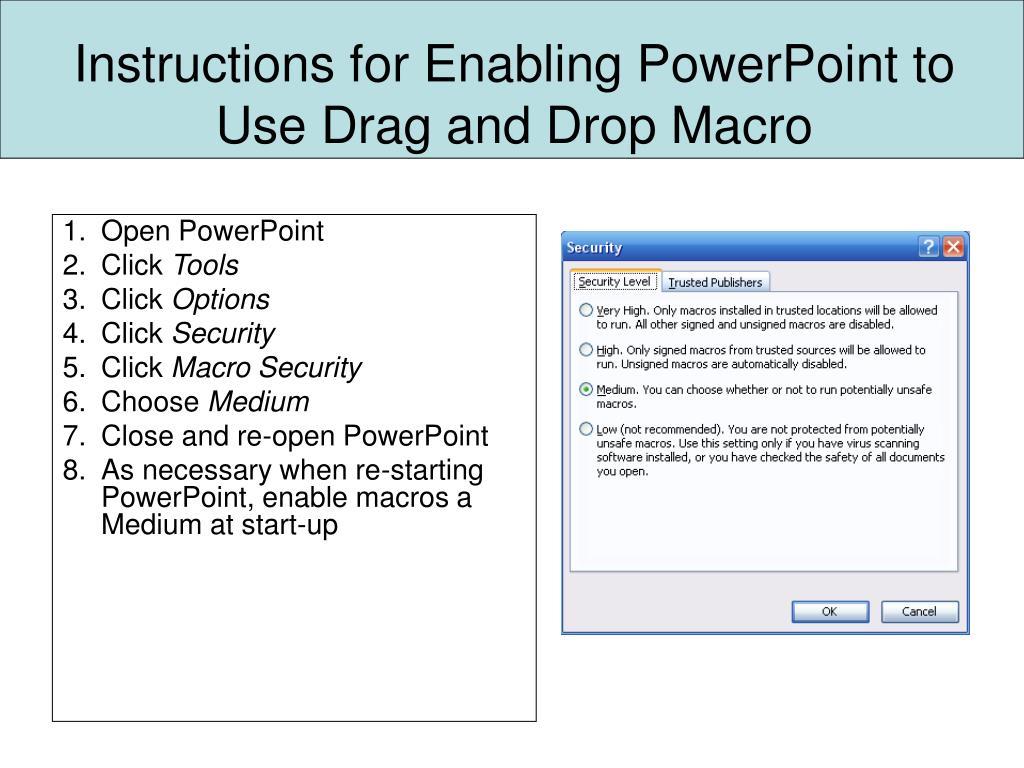 PPT - Instructions for Enabling PowerPoint to Use Drag and