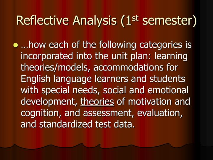 Reflective Analysis (1