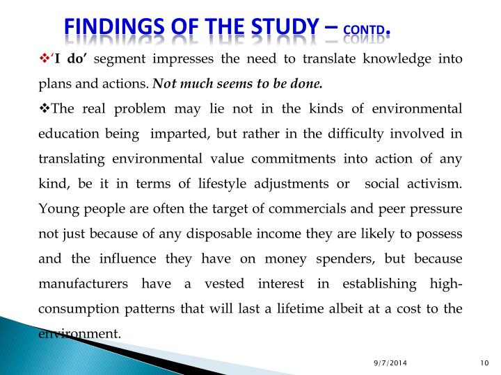 Findings of the Study –