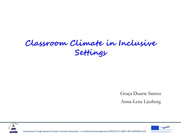 classroom climate in inclusive settings n.