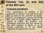 clauses 1 a b and 2 b of the bill cont