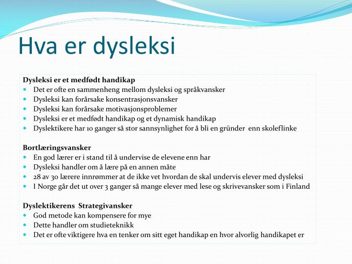 Hva er dysleksi