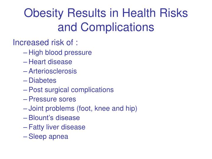 Obesity Results in Health Risks and Complications