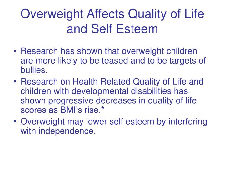 Overweight Affects Quality of Life and Self Esteem