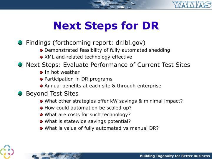 Next Steps for DR