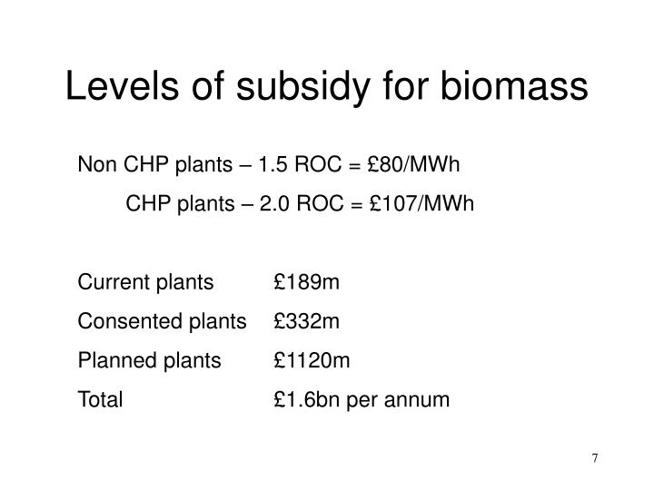 Levels of subsidy for biomass