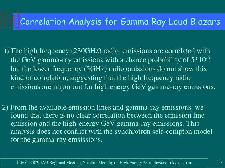 Correlation Analysis for Gamma Ray Loud Blazars