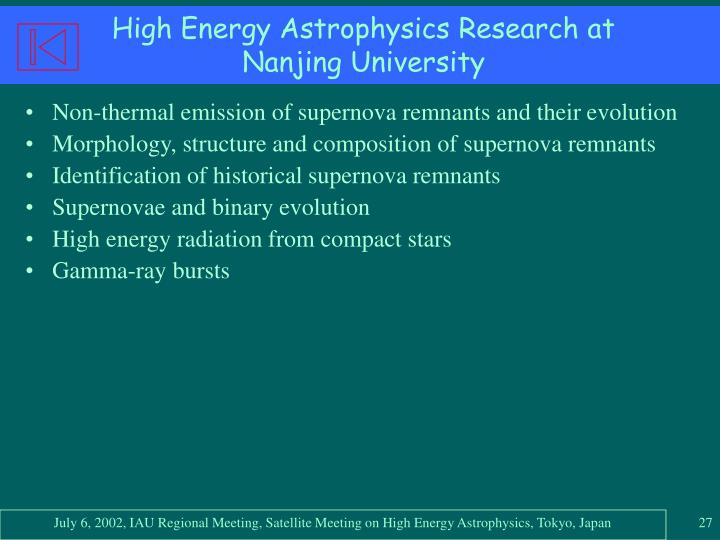 High Energy Astrophysics Research at