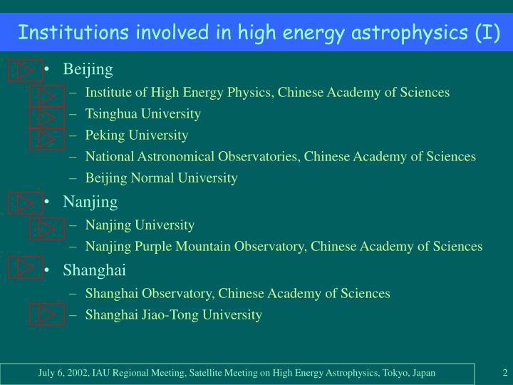 Institutions involved in high energy astrophysics i