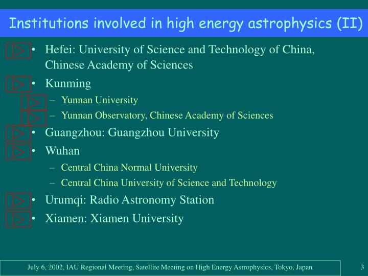 Institutions involved in high energy astrophysics ii