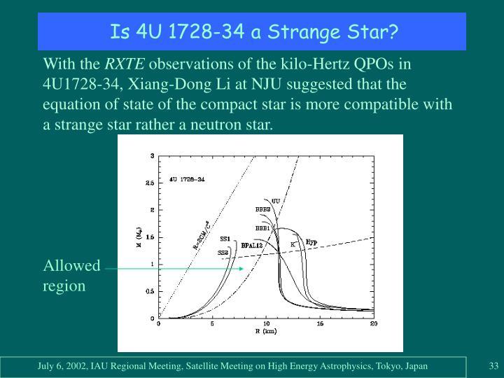 Is 4U 1728-34 a Strange Star?