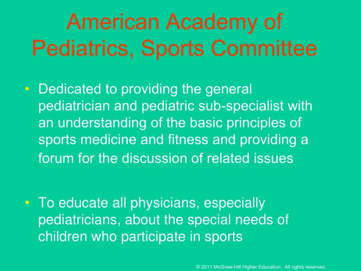 American Academy of Pediatrics, Sports Committee