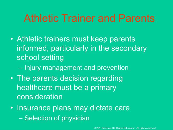 Athletic Trainer and Parents