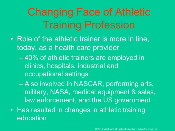 Changing Face of Athletic Training Profession