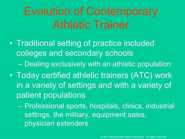 Evolution of Contemporary Athletic Trainer