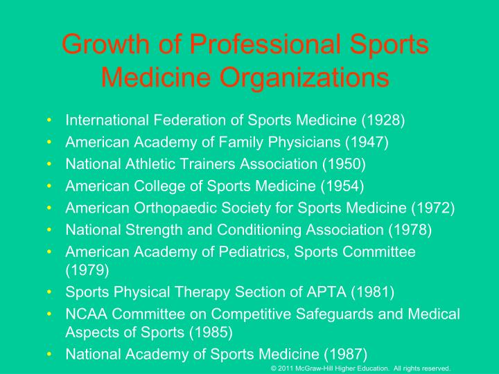 Growth of Professional Sports Medicine Organizations