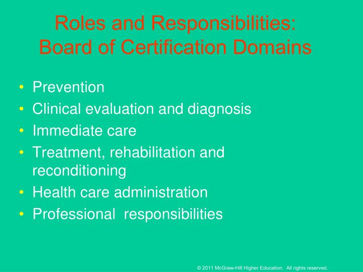 Roles and Responsibilities: Board of Certification Domains